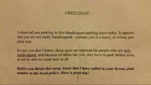 Note calls Colorado mom 'lazy' and 'an idiot' for using handicapped spot