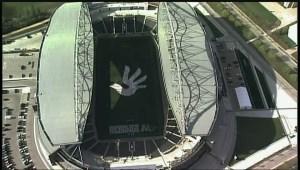 View from above of massive human rights mosaic in Winnipeg's IGF stadium