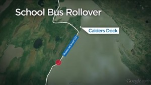 Air ambulance transports 2 people to hospital after school bus rollover near Winnipeg