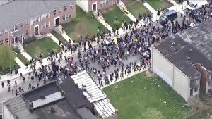 Aerial footage of Baltimore demonstration protesting death of Freddie Gray