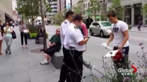 Property security caught kicking busker off public sidewalk