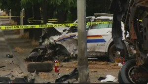 Raw: Langley crash involving cop car