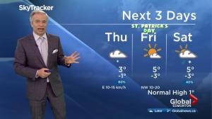 Edmonton early morning weather forecast: Thursday, March 16, 2017