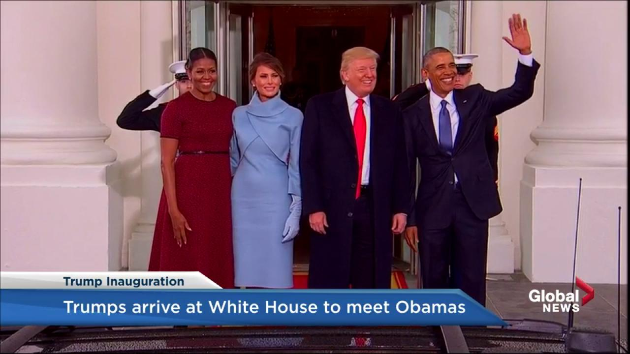 Trump inauguration Barack and Michelle Obama welcome the Trumps to the White House