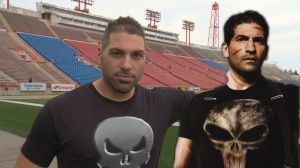 Calgary Stampeder Randy Chevrier teaches Brendan Parker about the Punisher