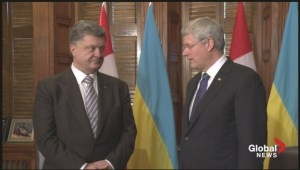 Ukrainian President Poroshenko arrives to address joint Parliament