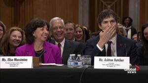Ashton Kutcher blows John McCain a kiss after crack about his looks