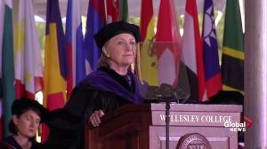 Clinton delivers message of self-belief to Wellesley College grads