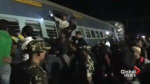 Aftermath of India trail derailment leaving dozens dead