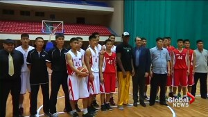 Dennis Rodman observes, advises North Korean basketball team