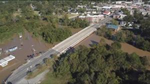 Drone footage shows two north Carolina communities almost underwater following Hurricane Matthew