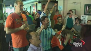 Argentinian and Dutch fans celebrate a hard fought World Cup semi-final