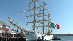 Mexican Tall Ship Cuauhtémoc dazzles passersby on Halifax waterfront.