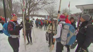 Hundreds of skiers and snowshoers take to the trails on Mount Royal