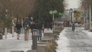 Icy sidewalks vs. clear bike lanes in Vancouver