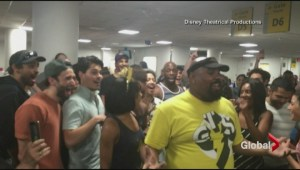 Broadway cast of 'Lion King' performs in airport during flight delay