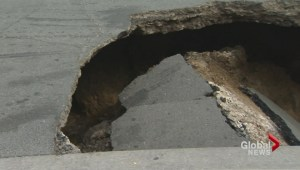 Sinkhole opens up on Eglinton Avenue West