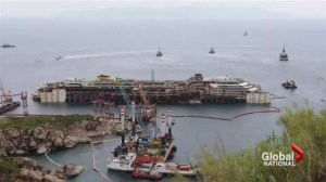 Final preparations under way to tow away Costa Concordia