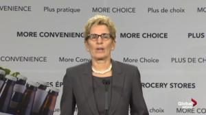Wynne addresses possible difficulty of selling beer in supermarkets