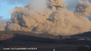 Mount Aso spews plumes of smoke and ash into the air