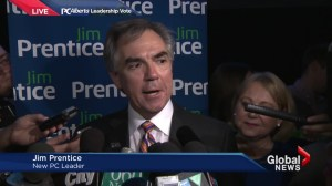 Jim Prentice talks to the media for the first time as Premier-Designate of Alberta