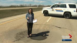Sinkhole forces partial closure of Highway 16 west of Edmonton