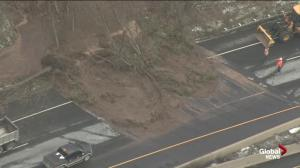 Raw video: Mudslide closes portion of eastbound 403 in Hamilton