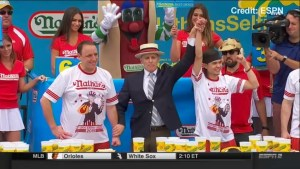 Footage of Joey Chestbut being dethroned as champion at Nathan's Hot Dog Eating Contest