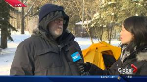 Edmonton father camps out in frigid cold for Stollery Children's Hospital fundraiser