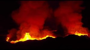 Drone captures incredible eruption of Icelandic volcano