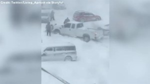 Plow gets stuck in snow during Halifax blizzard