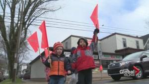 Crossing flags deployed by Halifax neighbourhood residents