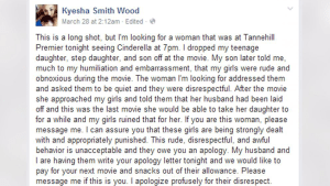 Mother's Cinderella Facebook apology goes viral
