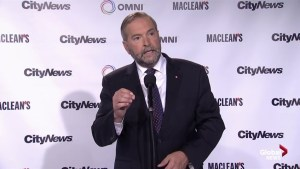 NDP leader Thomas Mulcair answers question on pipelines