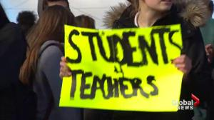 Thousands of students back up teachers in rally