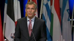 NATO Secretary General says Russia trying to replace rule of law