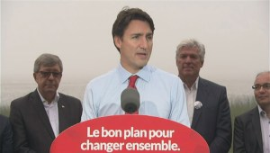 Justin Trudeau speaks about refugee crisis at campaign stop