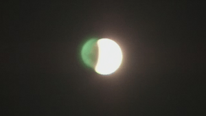 Early view of lunar eclipse and supermoon