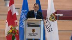 U.N. secretary general Ban-Ki moon speaks at even in Calgary