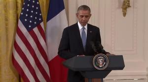 We're here to declare that the United States and France stand united: Obama