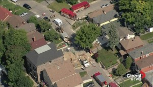 Aerial view of scene of construction worker death in Toronto