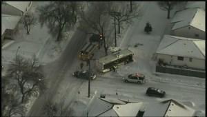 Bus slides into North End Winnipeg yard