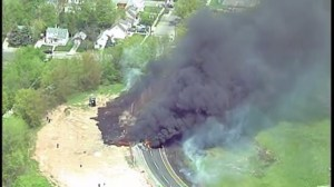 RAW: Gas tanker overturns and catches fire in New Jersey