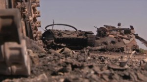 Dead Ukrainian soldiers and destroyed tanks left behind after retreat