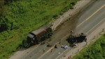 Aerial footage: Deadly crash east of Shelburne, Ontario