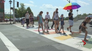 Rally held in support of Woodstock, N.B. rainbow crosswalk
