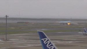 Caught on camera: South Korean plane catches fire on runway in Japan