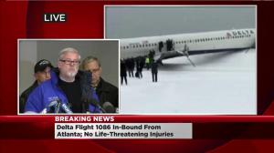 Port Authority officials address Delta plane that skidded off runway at LaGuardia