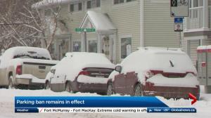 Snow route parking ban in effect in Calgary
