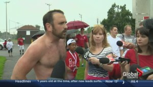 Shirtless protestors against Rob Ford